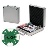 Poker chips set with aluminum chip case - 100 Card chips Logo Printed