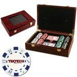 Customized 200 Foil Stamped poker chips in glossy wooden case - Dice design