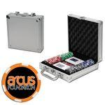 Personalized Poker chips set with aluminum chip case - 100 Full Color 6 Stripe chips