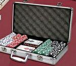 Poker chips set with aluminum chip case - 300 Dice chips Custom Imprinted