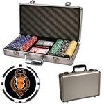 Poker chips set with aluminum chip case - 300 Full Color 8 Stripe chips Custom Imprinted