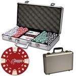 Poker chips set with aluminum chip case - 300 Diamond chips Custom Branded