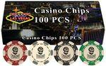 Logo Branded 100 Hot-Stamped Poker Chips in Gift/Retail Box