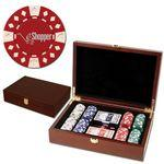 Customized 200 Foil Stamped poker chips in wooden Mahogany case - Diamond design