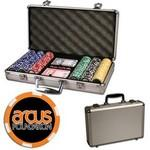 Logo Branded Poker chips set with aluminum chip case - 300 Full Color 6 Stripe chips