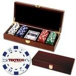 Customized 100 Foil Stamped poker chips in wooden Mahogany case - Dice design