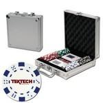 Poker chips set with aluminum chip case - 100 Dice chips Logo Printed