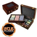 Poker chips set with Glossy wood case - 500 Full Color 6 Stripe chips Custom Branded