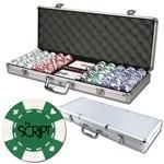Poker chips set with aluminum chip case - 500 Card chips Custom Branded