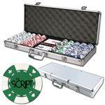 Logo Branded Poker chips set with aluminum chip case - 500 Card chips
