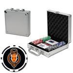 Poker chips set with aluminum chip case - 100 Full Color 8 Stripe chips Custom Imprinted