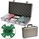 Poker chips set with aluminum chip case - 300 Card chips Logo Printed