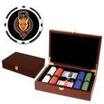 Poker chips set with Mahogany wood case - 200 Full Color 8 Stripe chips Custom Branded