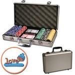 Poker chips set with aluminum chip case - 300 Full Color chips Custom Branded