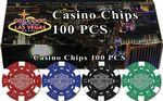 100 Hot-Stamped Dice Poker Chips in Gift/Retail Box Custom Personalized