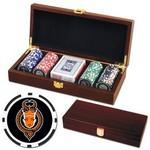 Promotional Poker chips set with Mahogany wood case - 100 Full Color 8 Stripe chips