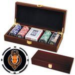 Custom Printed Poker chips set with Mahogany wood case - 100 Full Color 8 Stripe chips