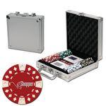 Custom Printed Poker chips set with aluminum chip case - 100 Diamond chips
