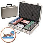 Promotional Poker chips set with aluminum chip case - 200 Full Color chips