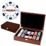 200 Foil Stamped poker chips in wooden Mahogany case - Dice design Logo Printed