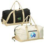 Eco Natural Cotton Canvas Duffel w/ Detachable Shoulder Strap Custom Imprinted