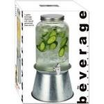 Logo Printed Glass Beverage Dispenser with Metal Stand
