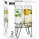 Custom Branded 2 Glass Beverage Dispenser with Metal Stand