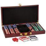 "Personalized 300 Piece Poker Chip Set, Rosewood Finish, 15 1/4""(L) x 2""(H) x 7 1/2""(W)"