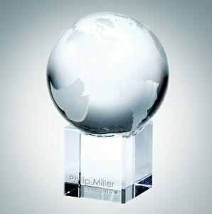World Globe Optical Crystal Award w/Cube Base (Small)