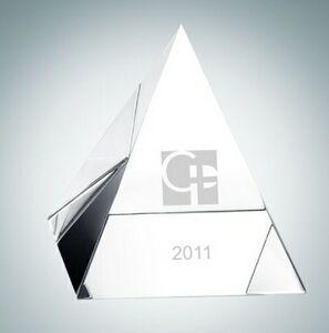Clear Pyramid Crystal Paper Weight (2 1/8