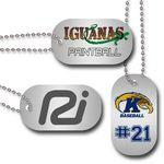 "Custom Imprinted 1.125"" x 2"" Brushed Silver Aluminum, Full Color Dog Tag"