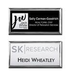 "Logo Branded The Athena Executive full color metal name badge 1 1/2"" X 3"""
