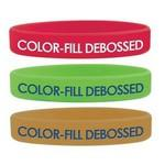 Logo Branded Debossed w/ Color Fill Silicone Wristband