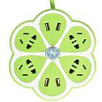 Custom Branded Flower Shape Power Strip , 4 Outlets + 4 USB Ports Power Socket